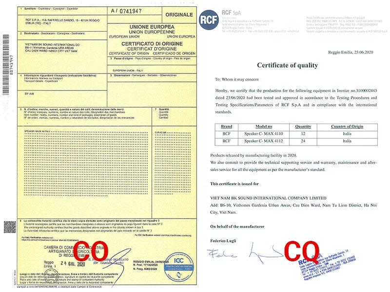 Giấy chứng nhận nhập khẩu CO, CQ