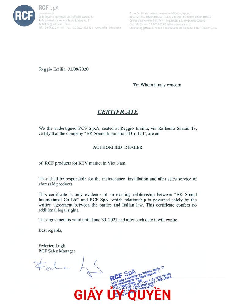 Giấy ủy quyền rcf cho bksound